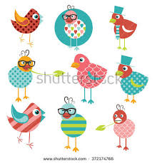 Color Kid Birds Pattern Flat Design Repeat Seamless Background Vector