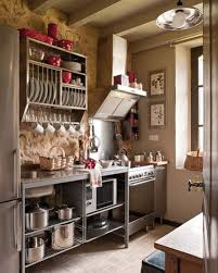 Industrial Style Kitchen Design With Metal Cabinet Also Small Vintage Country Grey Accents And Open Shelving Racks Mounted On