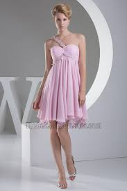 short pink a line one shoulder graduation party dress