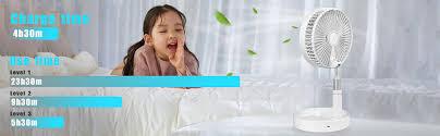 aicase tisch und standventilator ventilator leise standventilator mit 4 geschwindigkeitsstufen ø 19 7 cm 7200mah akku höhenverstellbarer und