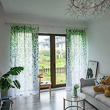 dasongff halbtransparent gardinen einzelblatt pole vorhang blätter wohnzimmer voile 200cm x 100cm dekoschal für fenster dekorative gardine viele