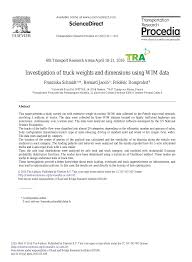 100 Truck Weights Investigation Of And Dimensions Using WIM Data Topic