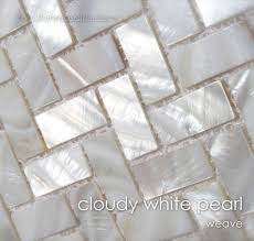 cloudy white of pearl tile weave kitchen design