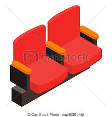 siege de cinema cinema armchair 3d isometric icon on a white background drawing