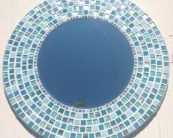 Blue Mosaic Bathroom Mirror by Round Wall Mirror In Turquoise Teal Gray And Copper