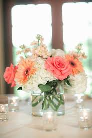 Shallow Vase With Light Pink Orange Flowers