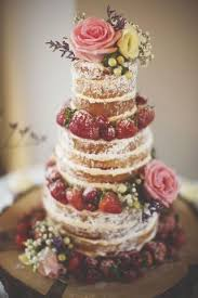 Very On Trend Right Now The Unfrosted Or Naked Wedding Cake Makes A Real Statement And Is Perfect Complement For Vintage Rustic Style