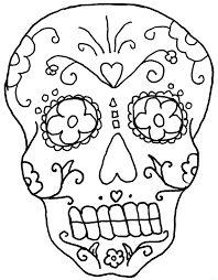 Easy Sugar Skull Day Of by Day Of The Dead Coloring Pages Getcoloringpages Com