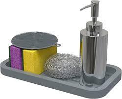 spülorganizer schwammhalter spülbecken organizer aus biofreundliches silikon deko grau küchenorganizer küchenhelfer mit stauraum für küchen