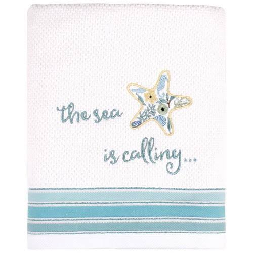 Saturday Knight Seaside Blossoms Bath Towel Collection, White/Blue