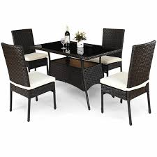 Costway: Costway 5 Piece Outdoor Patio Furniture Rattan Dining Table  Cushioned Chairs Set | Rakuten.com