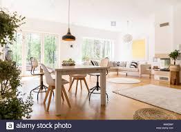 pflanzen in großen weißen wohnzimmer mit esszimmer halle