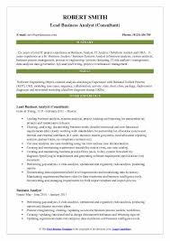 Lead Business Analyst Consultant Resume Model