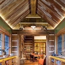 Check Out The Ceiling Made From Corrugated Tin Weathered And Aged Look Complements Rustic Feel Of Stone House Note Wood Valance At