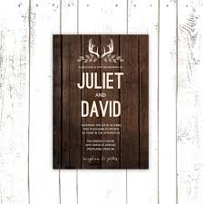 Rustic Wedding Invitation Set Deer Antler Invitations Wood