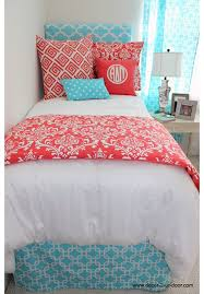 Classic Coral Damask Designer Teen & Dorm Bed in a Bag
