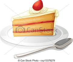 A Slice Cake With White Icing In A Plate Vector