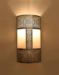 silver moroccan wall light with parchment moroccan bazaar