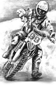 Dirt Bike Drawing Illustration Pencil Colored Realism