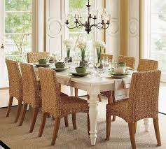 Decorating Seagrass Dining Chairs Plus White Table On Tan Carpet Chandelier For
