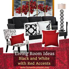 black and white living room with red accents home decor muse