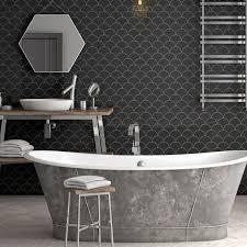 Renovators Supply Black Matte Grade A Porcelain Hexagon Kitchen Or Bathroom Floor Or Wall Tile 193 SQ FT 1 Tile Sheet 1025 Inch X 118 Inch