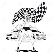 Street Racing Sexy Sport Girl With Starting The Checkered Flag Auto Motor Stock