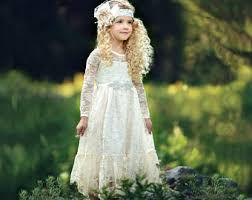 Flower Girl Dress Lace Country Ivory