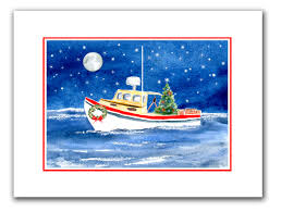 Mini Decorative Lobster Trap by Lobster Boat Christmas Cards Set Of 10 Holiday Card Set