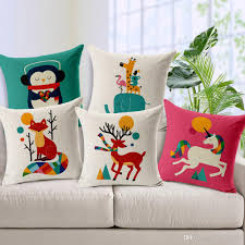 18x18 Inches Cartoon Hedgehog Zebra Cushion Cover Hand Painted Art Pillow Case Cotton Linen Pillow Cover Cushions Back Throw Pillow Cases Out Door Cushions