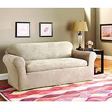 amazon com sure fit stretch suede sofa slipcover taupe