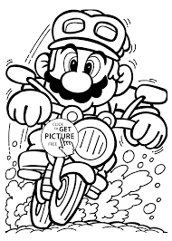 Mario On Motorcycle Coloring Pages For Kids Printable Free
