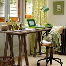 Traditional Home Office Decor Ideas With Rustic Wooden Desk Feat Swivel Chair In Small Room