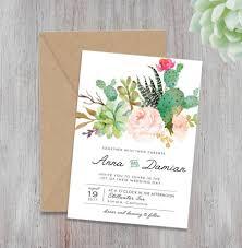 Bohemian Wedding Invite Set Floral Invitations Peach And MintRustic Printable Invitation SucculentsBoho