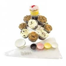 3 Tier Display Cupcake Stand With Standard And Miniature Liners Decorating Set 13