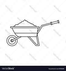 Wheelbarrow loaded with soil icon vector image