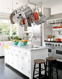 White Kitchen Island And Wall Shelves