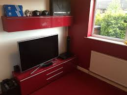 Ikea Besta Burs Desk 180cm by Ikea High Gloss Tv Unit And Wall Unit High Gloss Red In