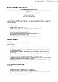 Build Resume Objective Examples Building Maintenance Sample Zexfne For