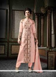 pink patch border work silk designer suit designer salwar