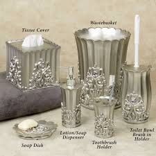 Crackle Glass Bathroom Set by Fatima Pewter Colored Bath Accessories