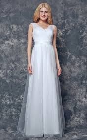 V Neck And Back Long Ruched Tulle Dress With Sash