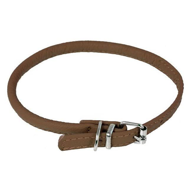 "Dogline Soft Padded Rolled Round Leather Dog Collar - 10"" to 13"""