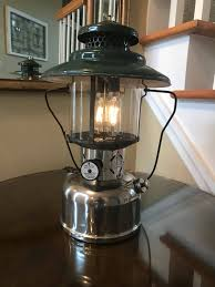 rustic electric vintage coleman lantern table l led bulbs 3