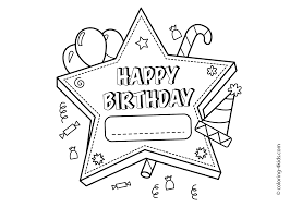 Birthday Card Coloring Page Happy Cards Pages Gallery Ideas