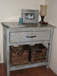 diy wood bedside table made from reclaimed wood painted with white