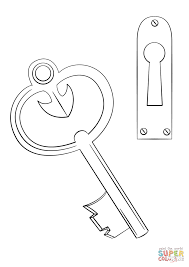 Click The Door Key And Keyhole Coloring Pages