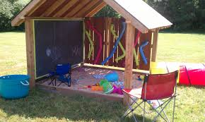 Covered Kids Entertainment Area With Sandbox, Chalkboard And ... Sandbox With Accordian Style Bench Seating By Tkering Tony How To Make A Sandpit Out Of Stuff Lying Around The Yard My 5 Diy Backyard Ideas For A Funtastic Summer Build 17 Plans Guide Patterns In Easy And Fun Way Tips Fence Dog Yard Fence Important Amiable March 2016 Lewannick Preschool Activity Bring Beach Your Backyard This Fun The Under Deck Playground Between3sisters Yards