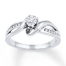 Diamond Promise Ring 1 8 Ct Tw Round Cut Sterling Silver