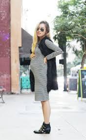 lovejookim maternity style black white striped boohoo dress black